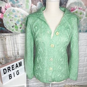Free People Mint Cable Knit Floral Cardigan